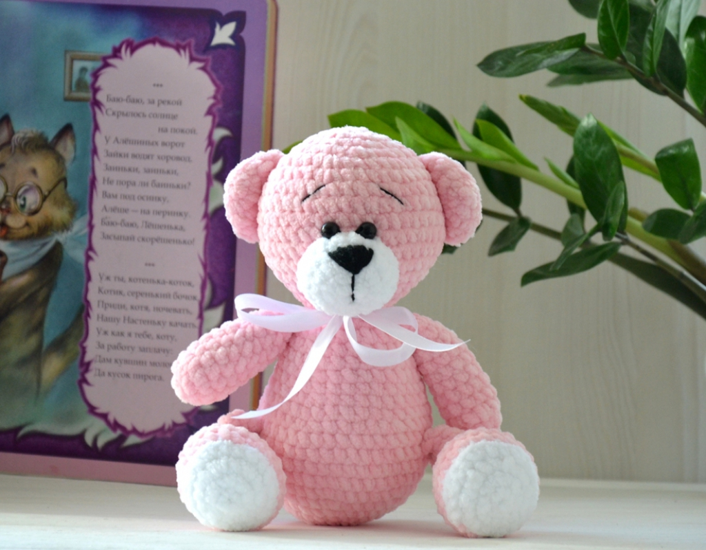 Мишка розовый плюш