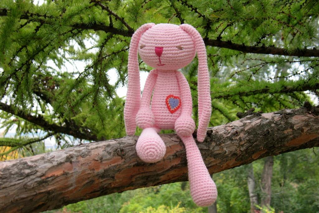 Зайка розовый большой