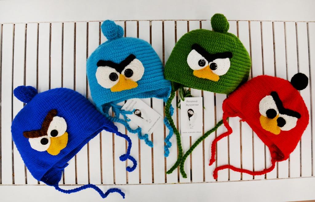 Шапки Angry Birds крючком